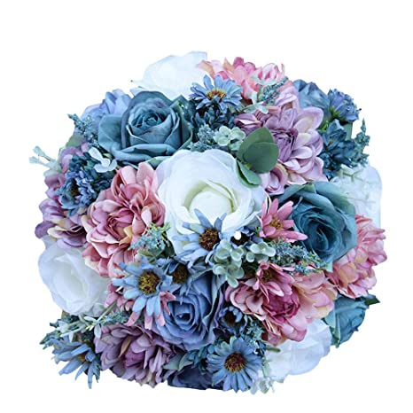 948d72d6b0c6 Amyseller matrimonio romantico bouquet nuziale damigella d  onore rose  artificiali fiori sposa azienda mazzo di