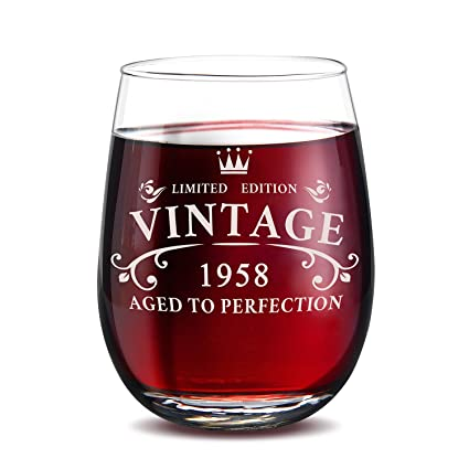 1958 60th Birthday Gifts For Men And Women Stemless Wine GlassFunny Novelty 15 Oz