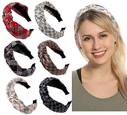 Women Headbands Head Hair Bands - (6 Packs) Premium Satin with Grid and Stripe Printed, Wide Knot Hairband for Women's Hair, Fashion Hair Accessories best fashion headbands