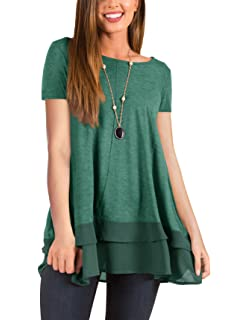 81169212bbf PRETTODAY Women s Casual Tunic Tops Crew Neck Shirts Chiffon Hemline Loose  Blouses
