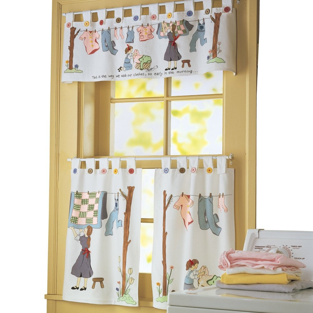 Amazon com nostalgic laundry room cafe curtain set machine washable polyester home kitchen