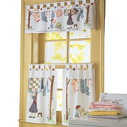 Nostalgic Laundry Room Cafe Curtain Set Machine Washable Polyester