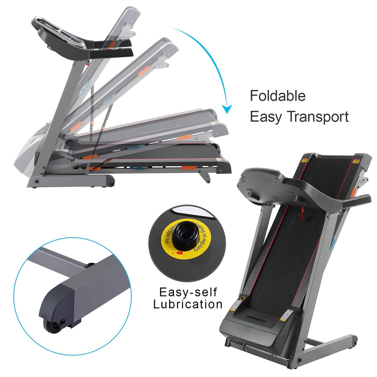 Miageek Fitness Folding Electric Jogging Treadmill with Smartphone APP Control, Walking Running Exercise Machine Incline Trainer Equipment Easy Assembly by Miageek (Image #2)