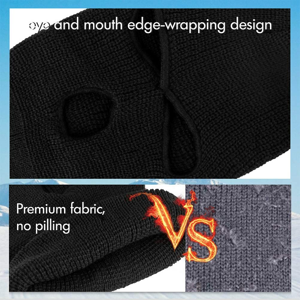 Color Negro MAOJIE M/áscara de Punto de Cara Completa con 3 Agujeros para Invierno de Punto c/álido m/áscara el/ástica de esqu/í