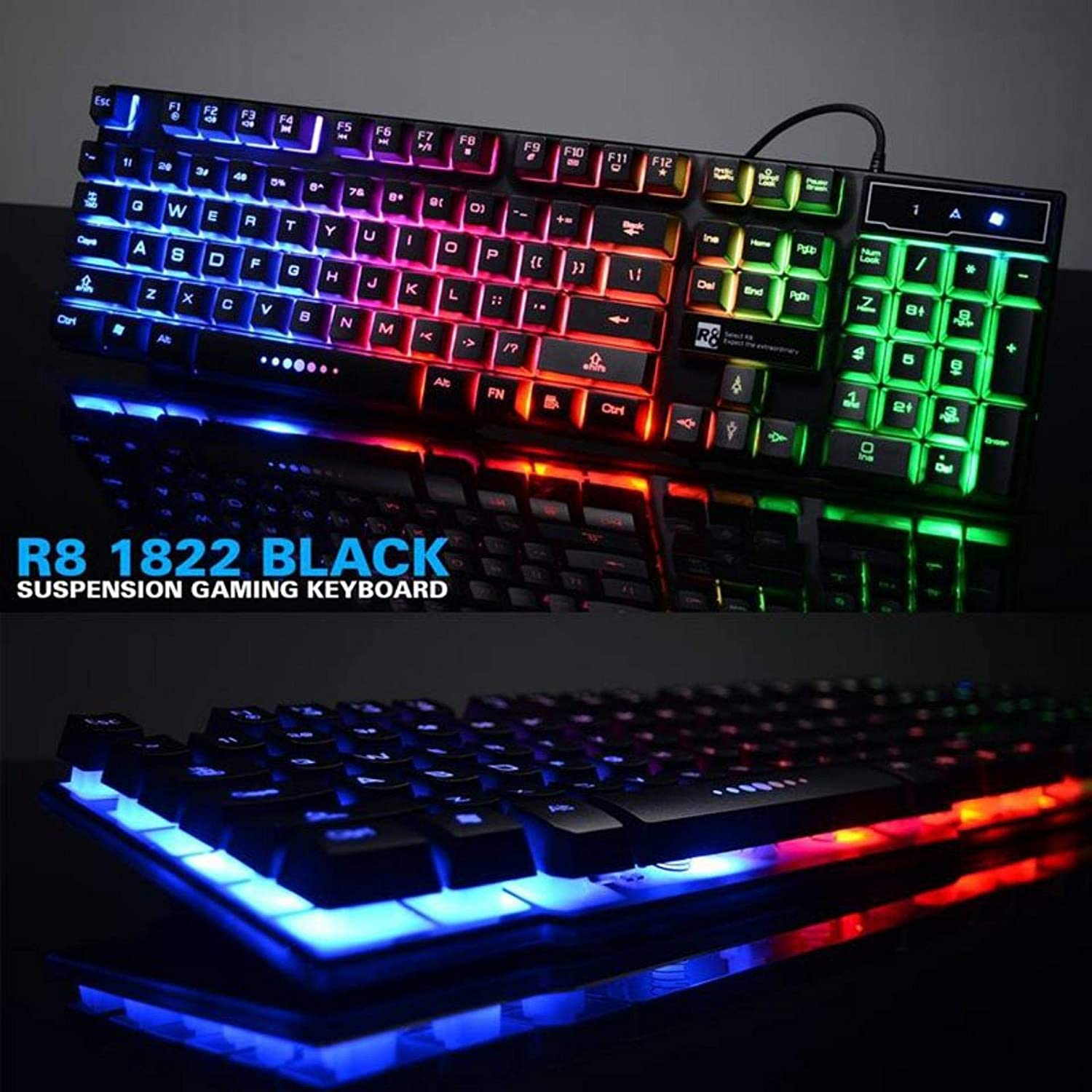 b1168aaa9c7 R8 Mechanical Feeling LED Backlit Gaming Keyboard: Amazon.co.uk: Electronics
