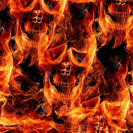 Amazoncom Linear Meter Flaming Fire Skulls Flames Red Hydrographic