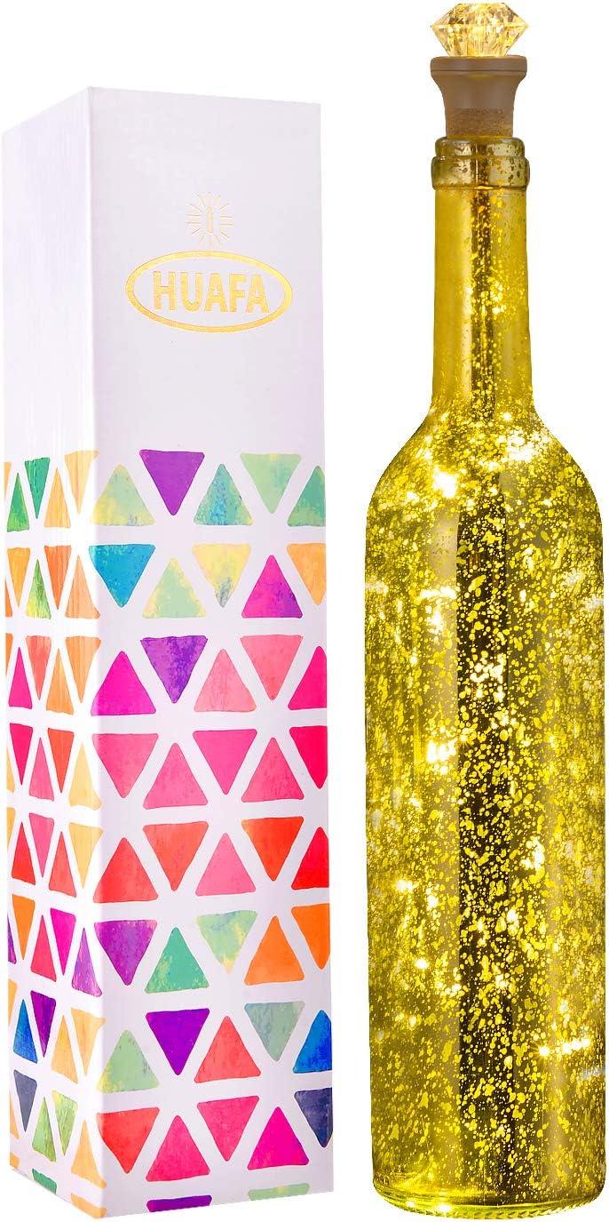 HUAFA Wine Bottle Lights (Golden Bottle), Rechargeable USB Powered, Decorative Lights for Party, Home Decor, Christmas, Halloween, Wedding, Bars(Warm White 1 Pack)