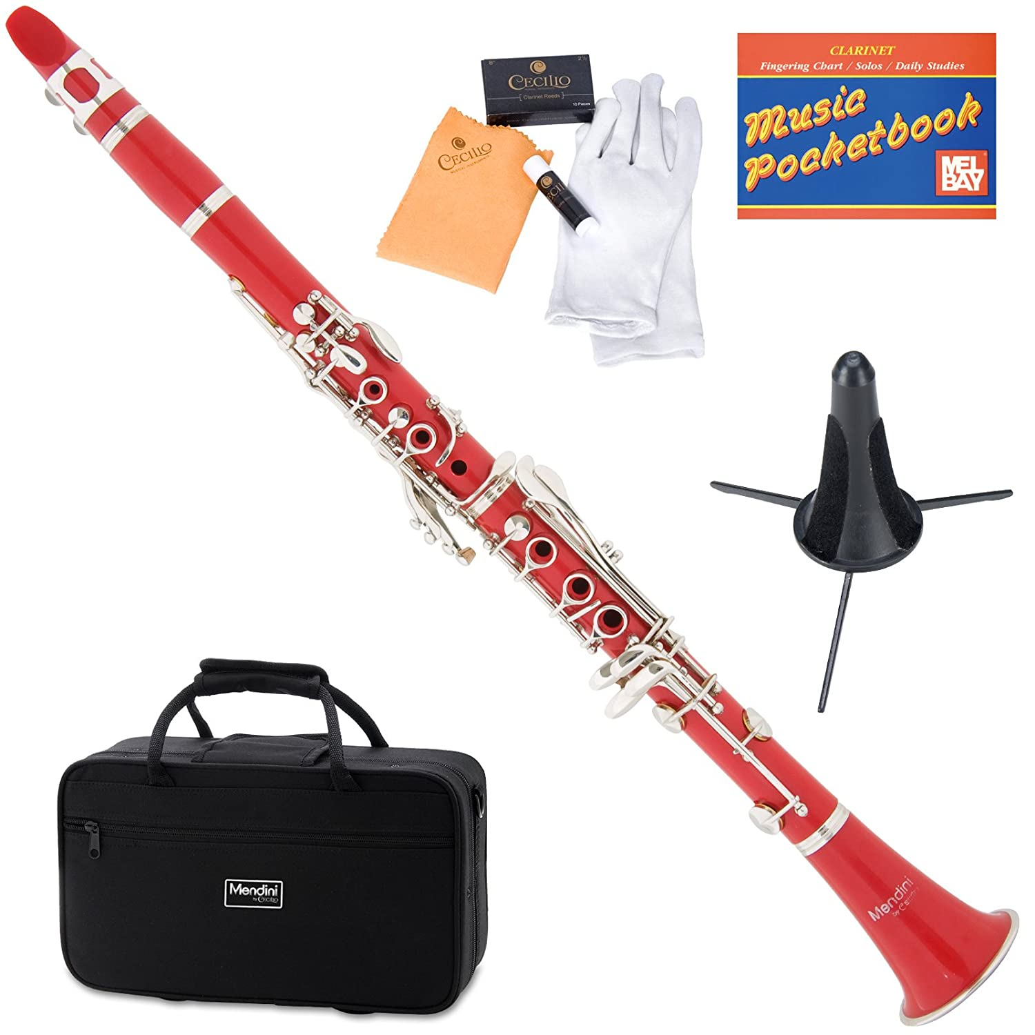 Mendini MCT-E+SD+PB Black Ebonite B Flat Clarinet with Case, Stand, Pocketbook, Mouthpiece, 10 Reeds and More Cecilio Musical Instruments