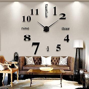 GuoEY Decoración del hogar espejo grande Reloj de pared de diseño moderno 3D Diy grandes relojes de pared Reloj de pared decorativos regalo único,Italia: ...