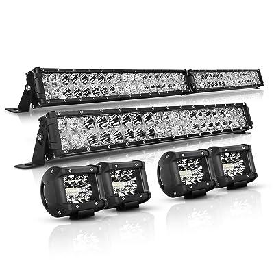 LED Light Bar OSRAM Chips Autofeel 42 Inch 22 Inch 28000LM IP68 Waterproof Flood Spot Combo Light Bar Kit 4PCS 4 Inch LED Pods Fog Lights for Jeep Wrangler Ford Truck Boat, 3 Years Warranty: Automotive [5Bkhe1006498]