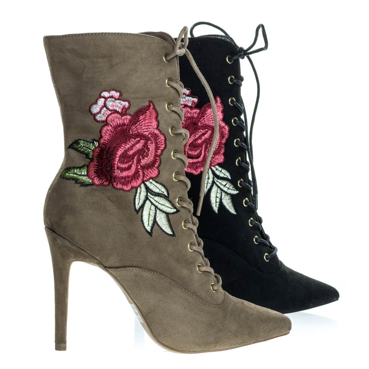 Wild Diva Akira147A Taupe Beige Women Corset Combat Boot w Rose Metallic Embroidered Stitch High Heel -7