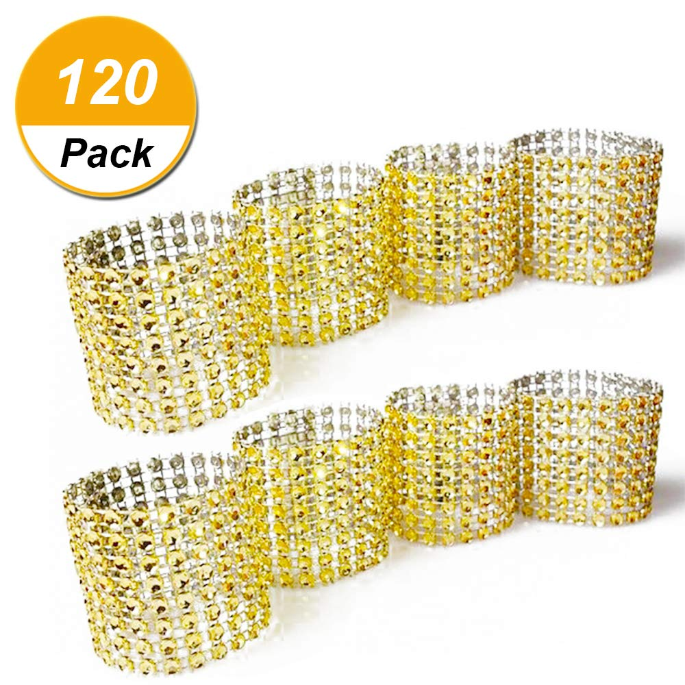 Napkin rings, gold rhinestone mesh bling napkin rings for wedding decoration, plastic chair sash bows, napkin holder for DIY party birthday banquet supply 5.12 x 1.57inch Pack of 120 Ltd.