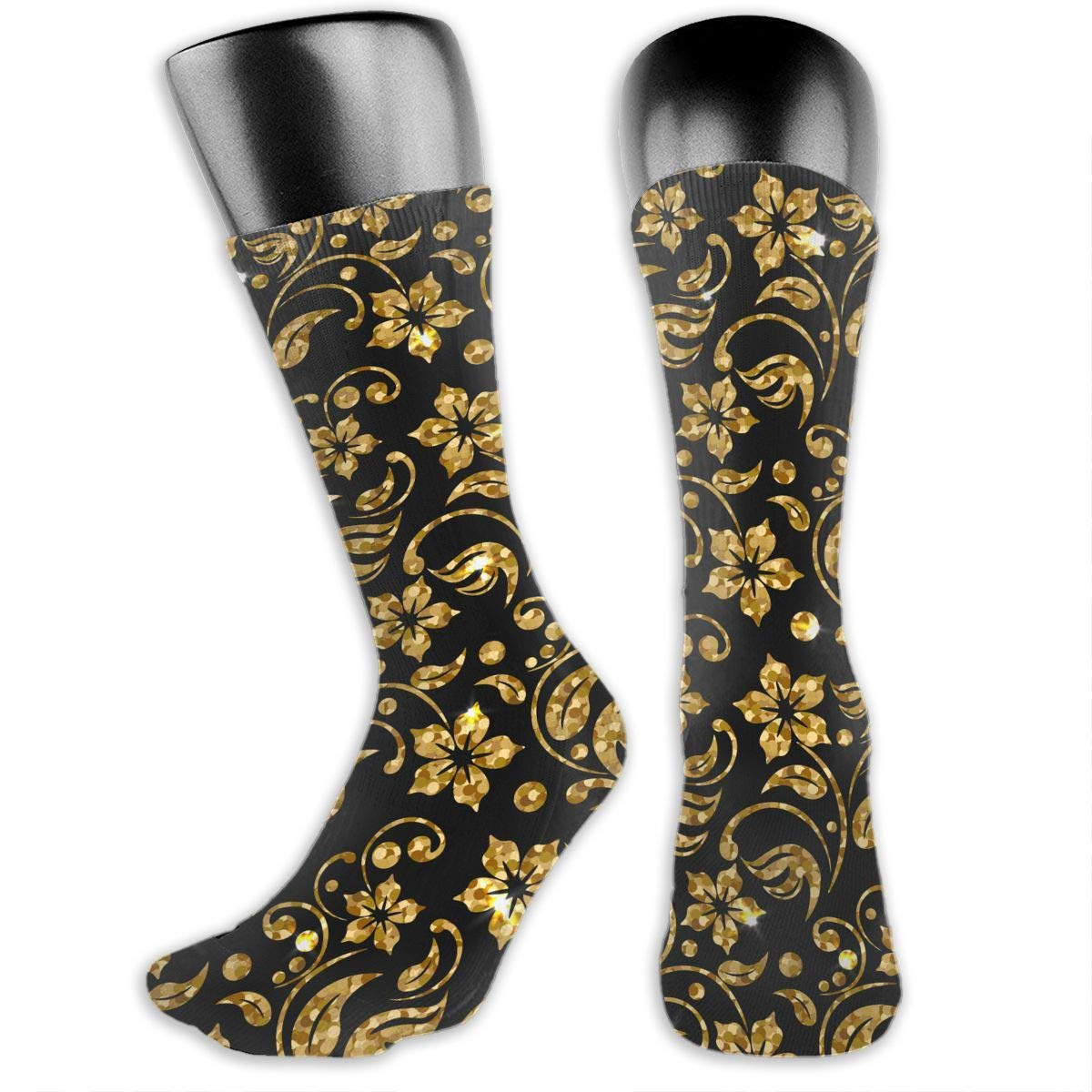 Gold Floral Men Womens Thin High Ankle Casual Socks Fit Outdoor Hiking Trail OLGCZM Pattern with Flowers Golden Glitter Pattern Design