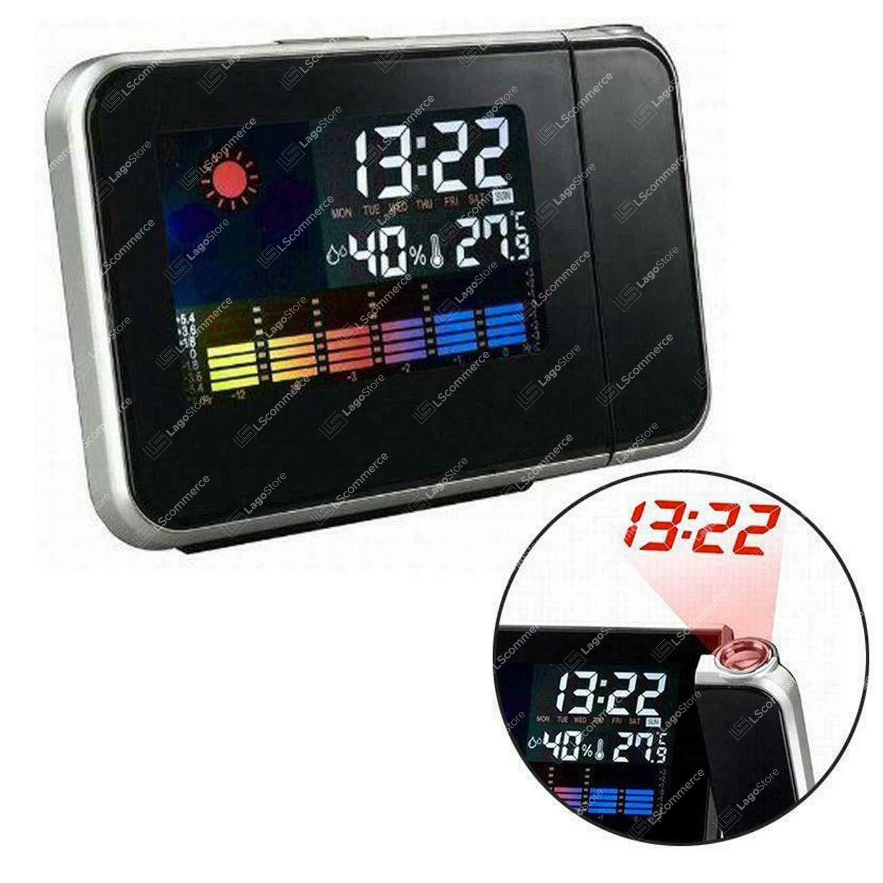 LSCOMMERCE/® Sveglia Orologio LCD con PROIETTORE LED IGROMETRO Misura Temperatura PROIEZIONE