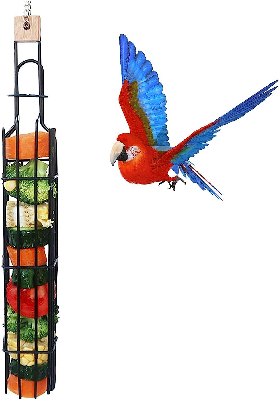 HFBlins Bird Parrot Fruit Basket, Bird Food Holder, Parrot Hanging Metal Birdcage Vegetable Fruit Treat Feeder, Foraging Food Grain Basket Feeding Tool for Medium Large Parrot