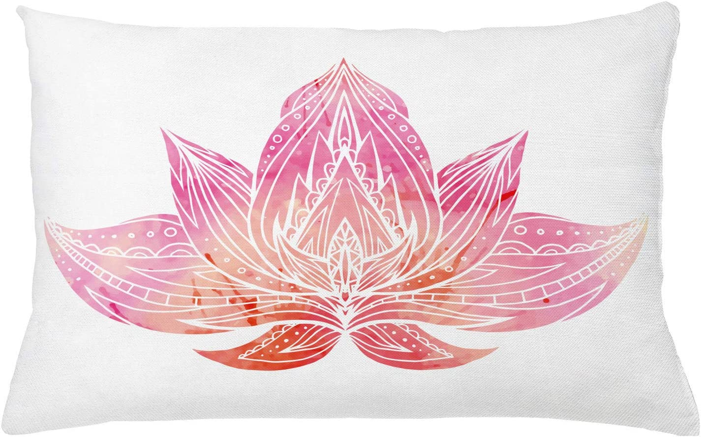 Lunarable Lotus Throw Pillow Cushion Cover Pink Lotus Flower With Ornaments On White Background Boho Style Artwork Decorative Rectangle Accent Pillow Case 26 X 16 Pale Pink And White Home