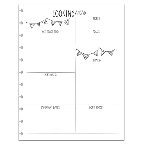 BetterNote Looking Ahead Monthly Reflection Insert for Letter Sized Disc-Bound Planners Levenger Circa Notebook Not Included Staples Arc Systems, Fits 8.5x11 Happy Planner TUL