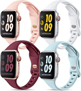 GEAK Compatible with Apple Watch Bands Series 6 38mm 40mm for Women, Slim Silicone Sport Wristband for iWatch SE 38mm Bands Series 1 2 3 4 5 6, 4Pack Mint Green/Sand Pink/White/Wine Red
