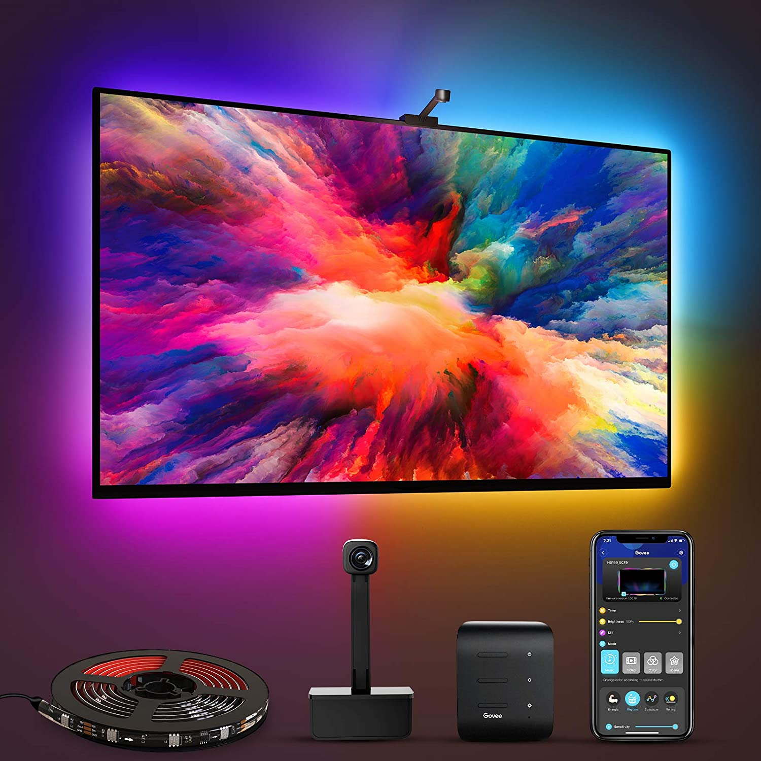 Govee Immersion WiFi TV LED Backlights with Camera, RGBIC Ambient TV Lighting for 55-65 inch TVs PC, Works with Alexa & Google Assistant, App Control, Lights and Music Sync, Adapter
