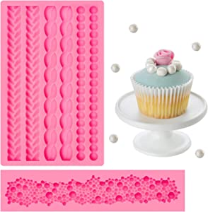 2 Pieces Rope Mold Silicone Pearl Fondant Mould Round Pearls Bubble Mold Cake Border Decorating Molds Cake Decoration Molds for Sugar Icing Gumpaste Kitchen DIY Baking Tools