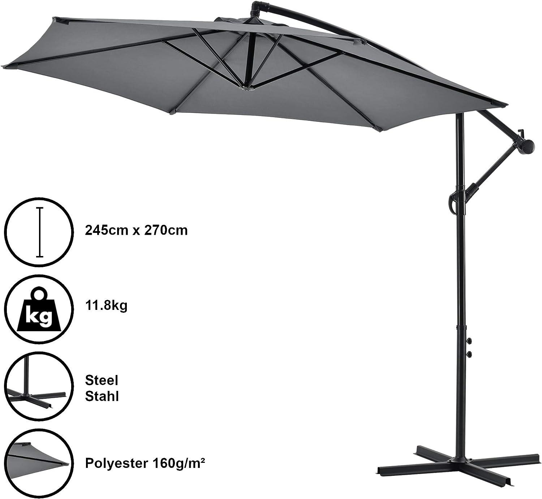 [casa.pro] Sombrilla Colgante Parasol excéntrico para Balcón Terraza Jardín Diámetro Pantalla 270 cm Protector Ajustable Mástil de Acero con Manivela Gris