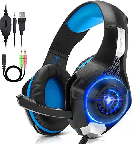 Beexcellent PC Gaming Headset PS4, Xbox One, VR, Surround Sound Overear Gaming Headphones Noise Isolating Mic with LED Light, Also for Laptop Tablet