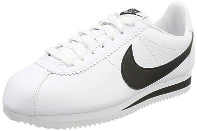 Nike Classic Cortez Leather, Chaussures de Running Entrainement Garçon, Blanc (White/Black), 38.5 EU