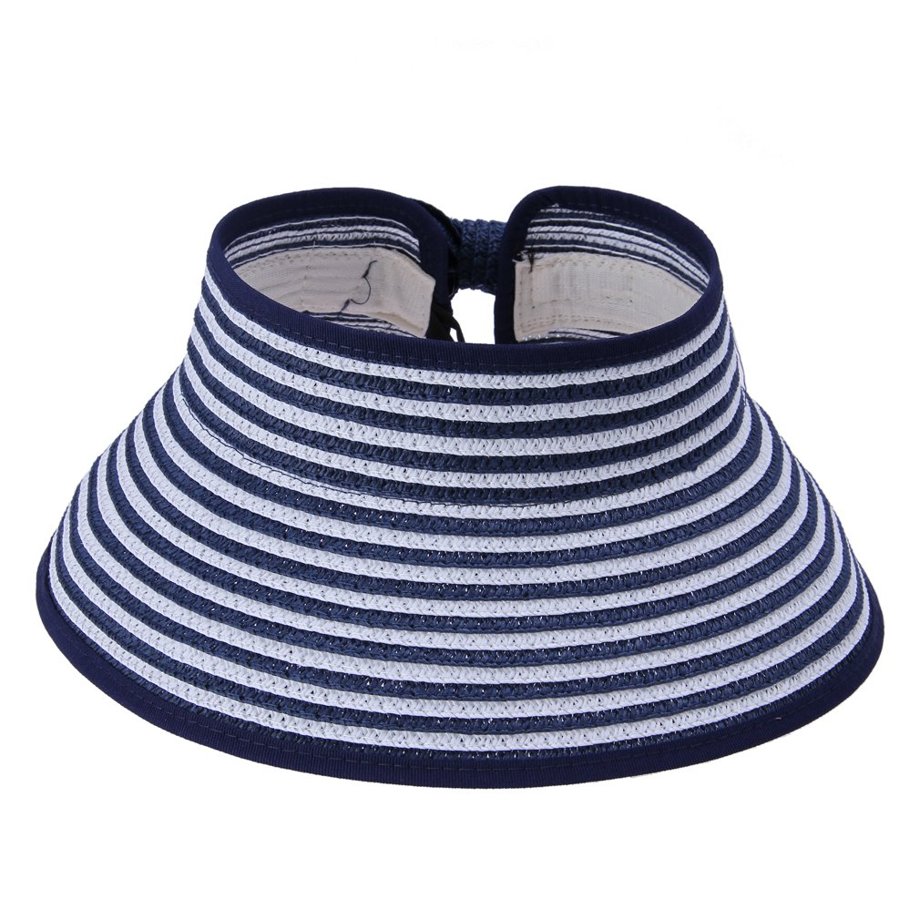 7767a23b165 JTC Women Open Top Adjustable Bow Wide Brim Can Roll up Sun Hat Stripes Cap  Visor Navy  Amazon.co.uk  Clothing