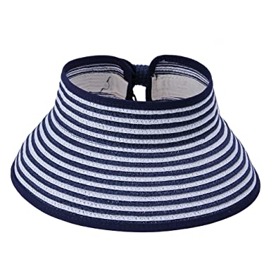 95dc2c5240979 JTC Women Open Top Adjustable Bow Wide Brim Can Roll up Sun Hat Stripes Cap Visor  Navy  Amazon.co.uk  Clothing