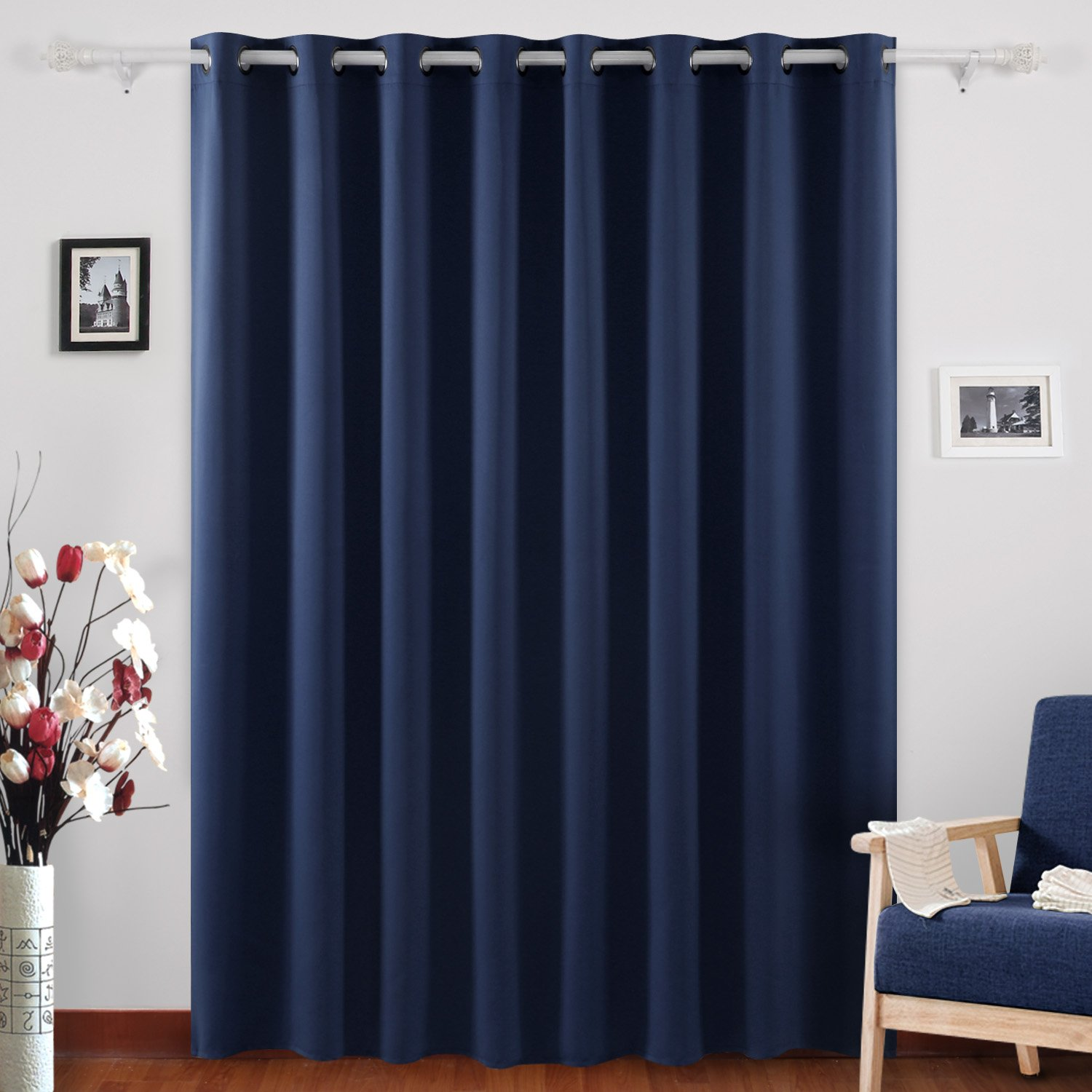 Deconovo Blackout Curtains Thermal Insulated Wide Width Curtains Grommet Room Darkening Curtains Navy Blue