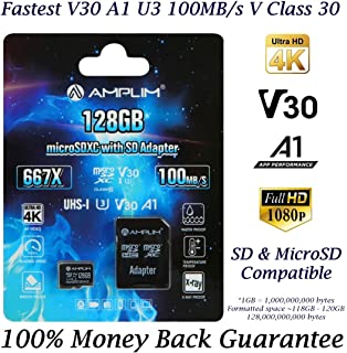 Amazon.com: Amplim 128GB Micro SD SDXC V30 A1 Memory Card ...