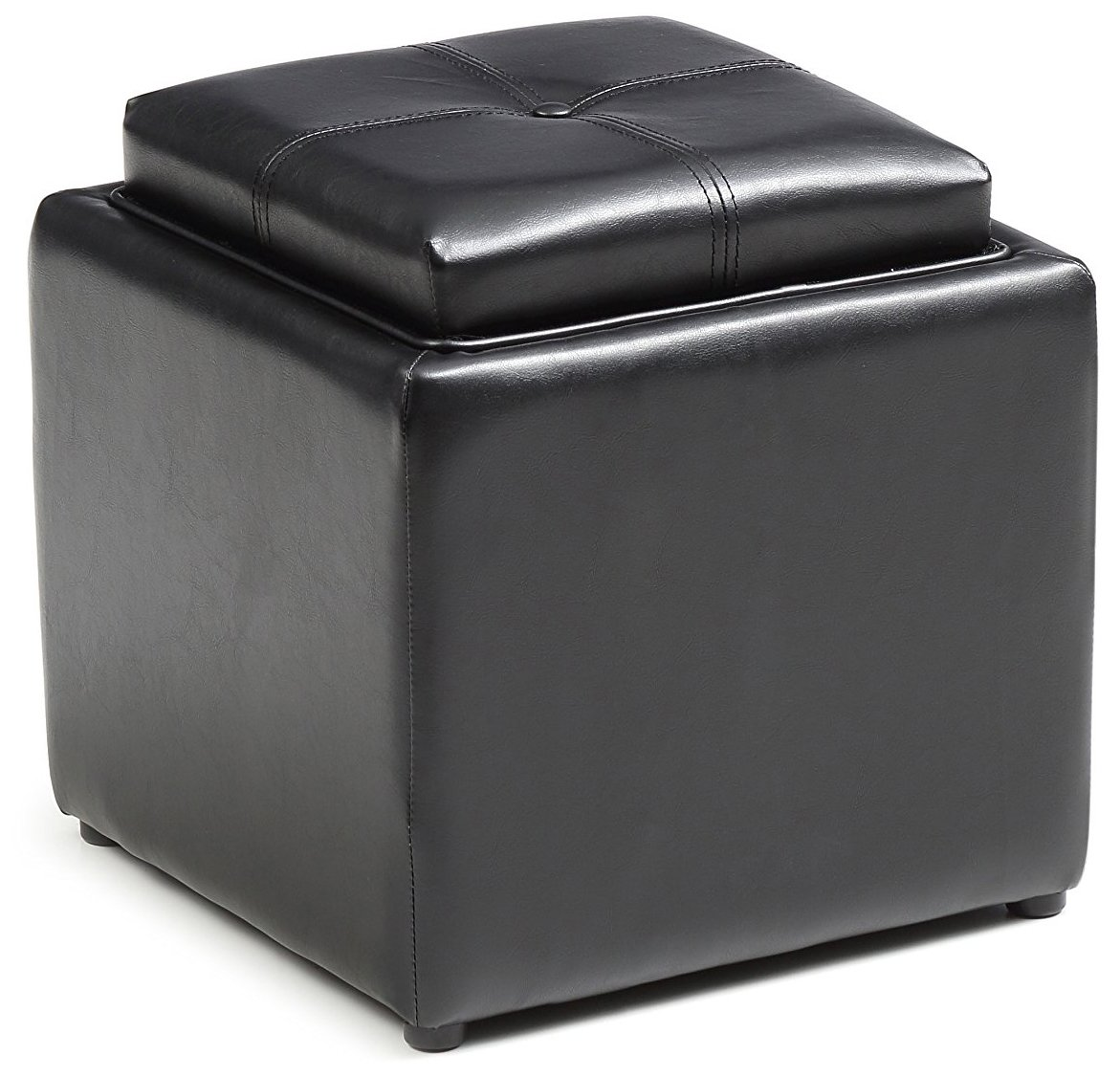 HODEDAH IMPORT Hodedah Storage Ottoman with Wood Flip Over Tray, Black