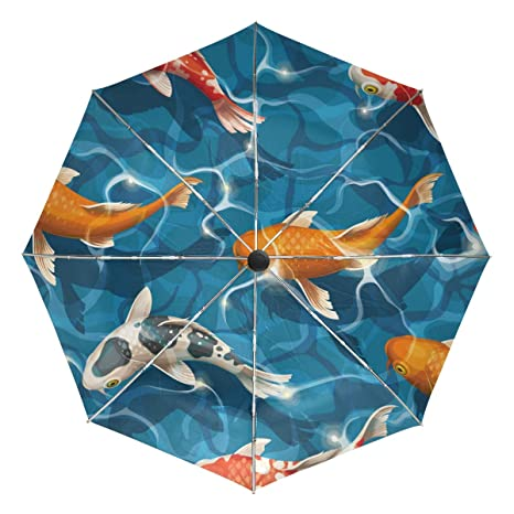86087b728f49c Jereee Colorful Crap Fishes Compact Travel Umbrella, Outdoor Rain Sun Car  Folding Reversible Umbrellas for