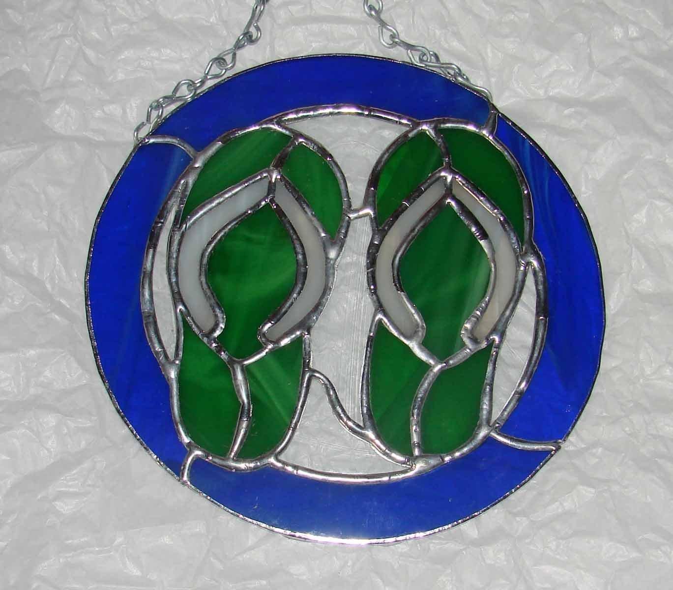814db23f2f65 Amazon.com  Flip Flops - Blue   Green Stained Glass Sun Catcher Panel   Handmade