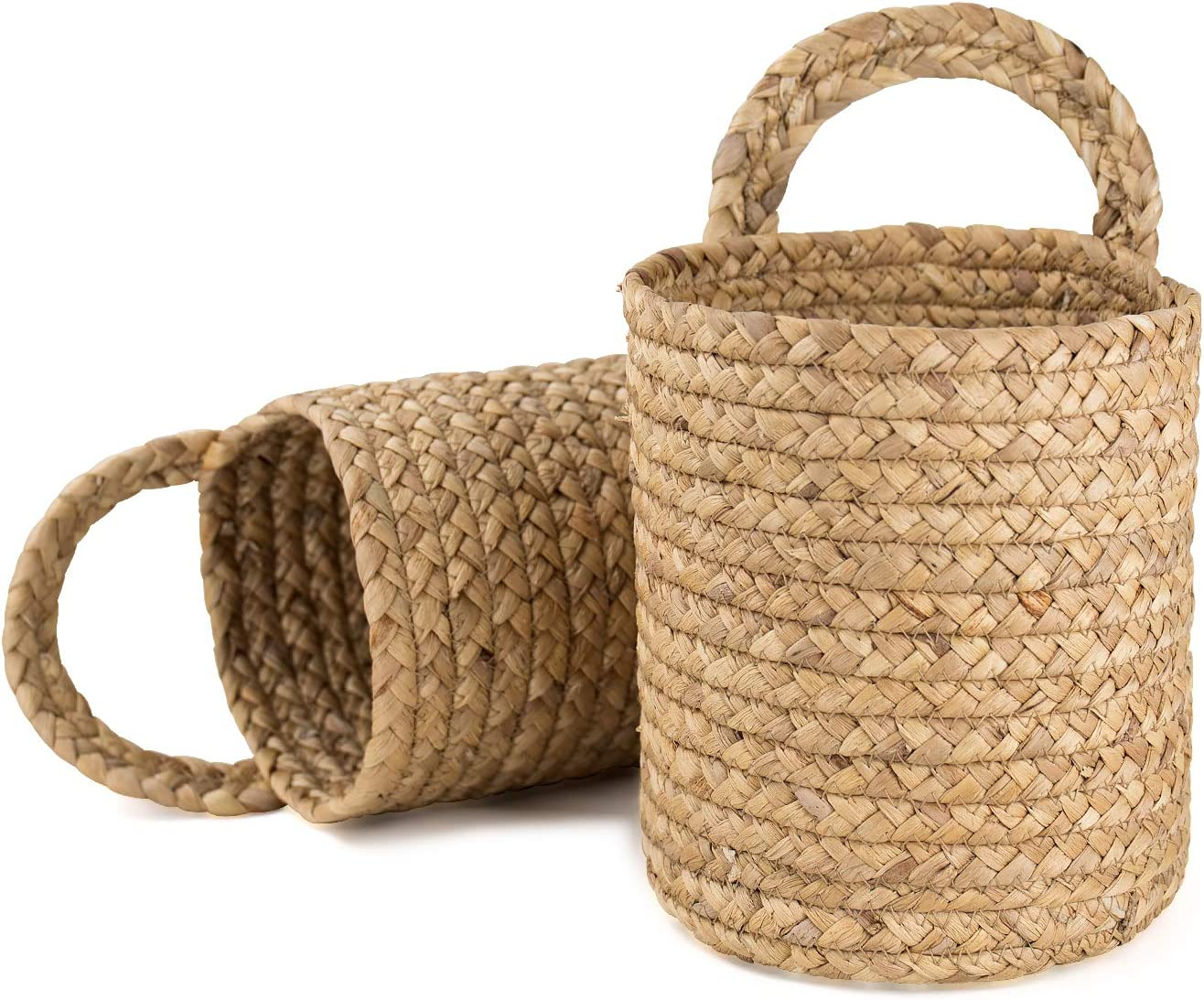 LA JOLIE MUSE Seagrass Woven Storage Baskets Set of 2, Wall Hanging Baskets Organizer, Garden Plant Baskets