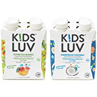 KidsLuv Vitamin Enhanced drinks, 2 flavor Variety 8pk, Zero Sugar, Certified Non-GMO, Vegan and Kosher, 8 ounce, Resealable, Recyclable, Strawfree, Tetra Pak drink boxes
