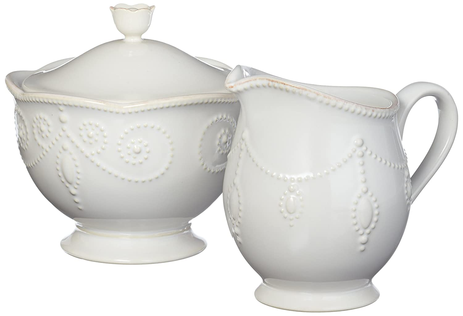 Christmas Tablescape Décor - Lenox white French perle sugar and creamer set