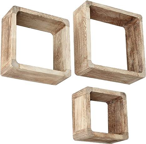 jeu de 3 lounge cube etagere style maison de campagne etagere murale etagere cubiques en bois massif en marron clair