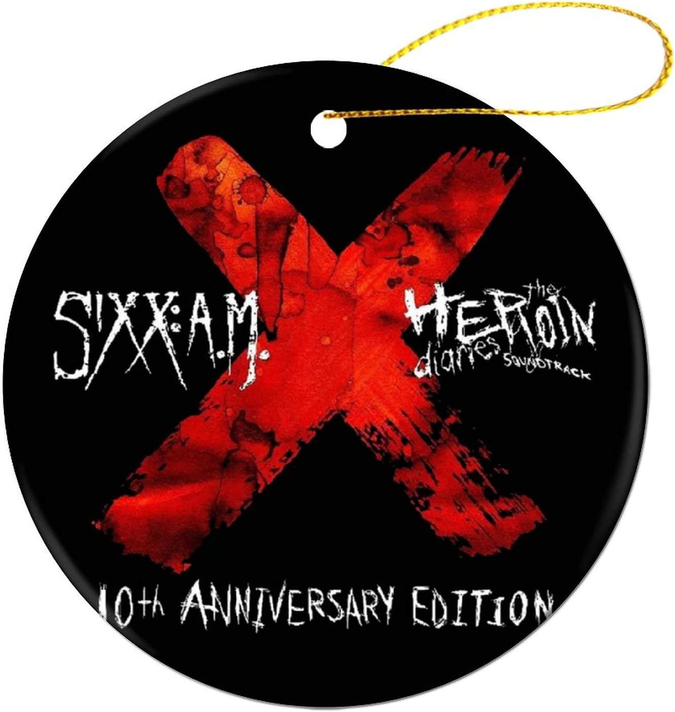 Sixx Am LogoRound Ceramic Ornament Souvenir Artwork 7.27.2cm