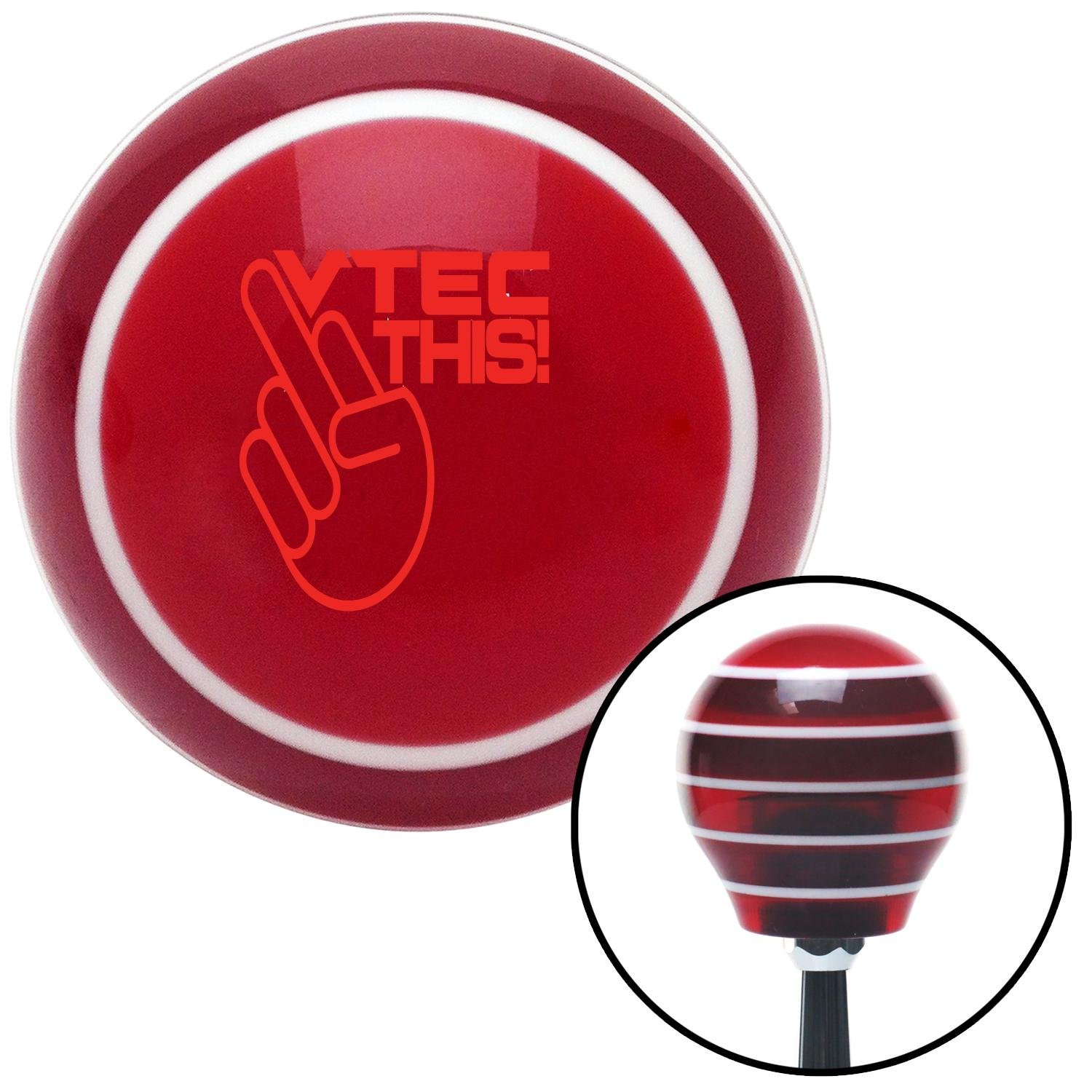 Red VTEC This! American Shifter 114926 Red Stripe Shift Knob with M16 x 1.5 Insert