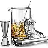 MOFADO Crystal Cocktail Mixing Glass Set - 5 Piece - 18oz 550ml Thick Bottom Crystal Mixing Glass, Spoon, Jigger…
