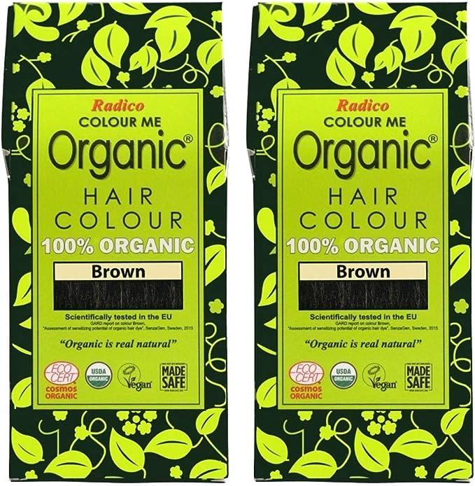 Radico Braun Colour Me Organic - Tinte para el pelo vegetal, 2 unidades, color marrón