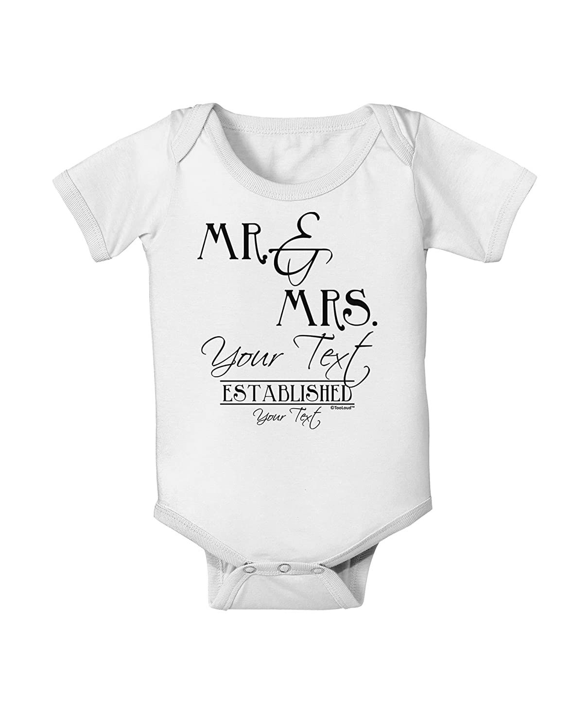 Name Date Established Design Baby Romper Bodysuit TooLoud Personalized Mr and Mrs