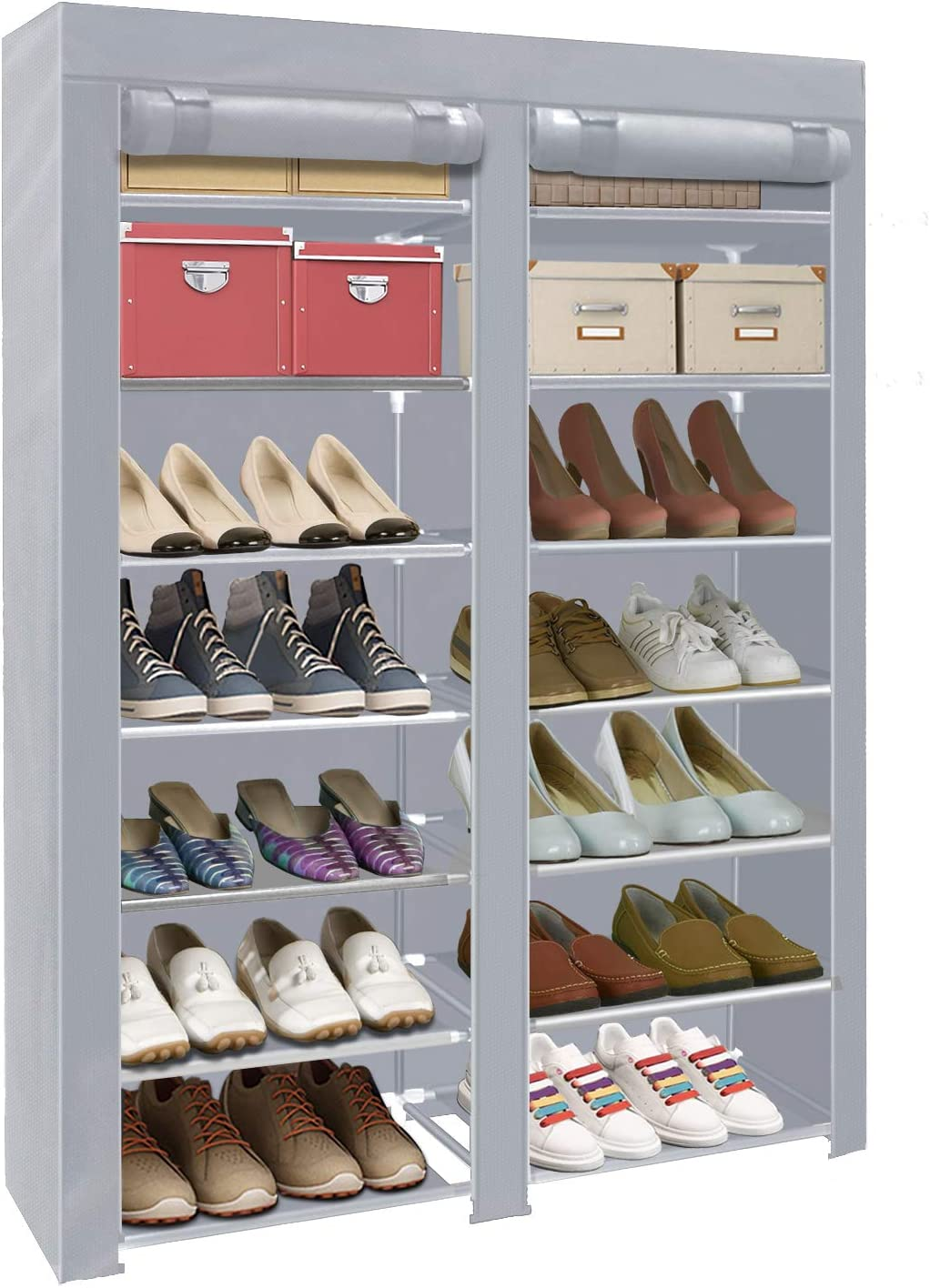 ERONE Shoe Rack Storage Organizer , 28 Pairs Portable Double Row with Nonwoven Fabric Cover Shoe Rack Cabinet for Closet (Grey)