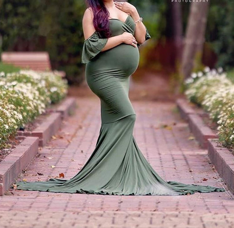 Arbres Umstandskleid Festliche Abendkleid Schwanger Elegante St/ützen R/üsche Aus Schwangerschaftskleid Meerjungfrau Hochzeit Maxi Kleid