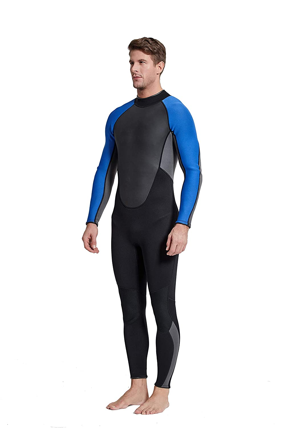 Wetsuit Men 3mm Neoprene Full Suits Long Sleeve Scuba Surfing Swimming Diving Swimsuits Keep Warm Back Zip for Water Sports