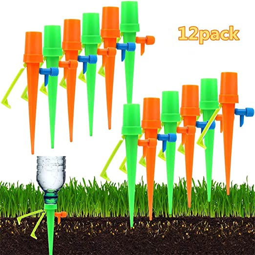 WenX Sistema de riego por Goteo de riego automático, Botella de riego por Goteo Herramienta de riego de Vacaciones Herramientas de jardinería de Plantas, jardín, Interior y Exterior 12psc: Amazon.es: Jardín