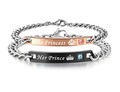 e44f1324a9823 His or Hers Matching Set His Princess Her Prince Titanium Stainless Steel  Couple Bracelet in a Gift Box