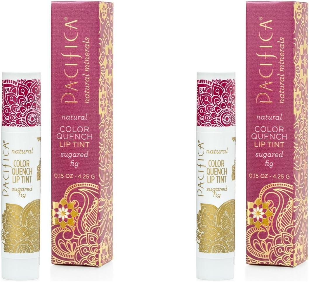 Pacifica Sugared Fig color Quench Lip Tint (Pack de 2) con aceite de coco, cera de soja, candelilla cera, cacao ...