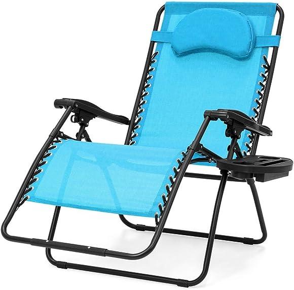 koonlert14 Extra Large Oversized Zero Gravity Chair Outdoor Patio Adjustable Recliner Comfortable Adjustable Padded Headrests W/Cup Holder